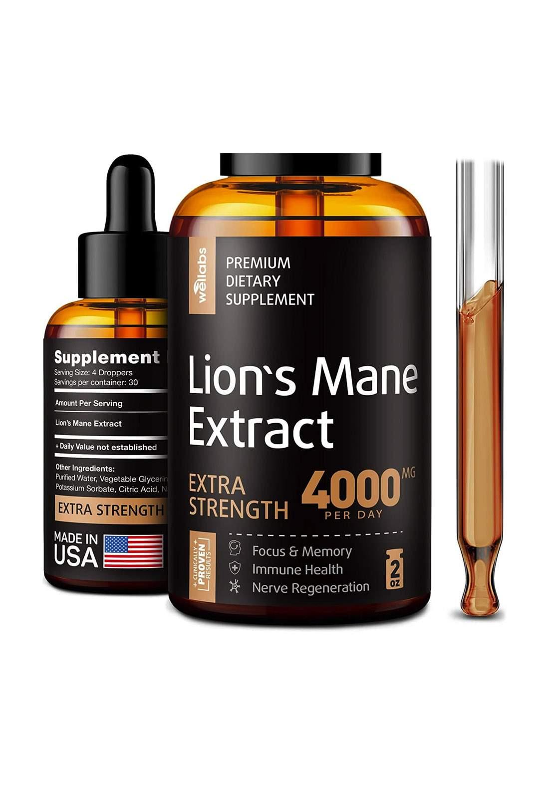 Wellabs Lion's mane Extrac (4000Mg) 60Ml  مكمل غذائي