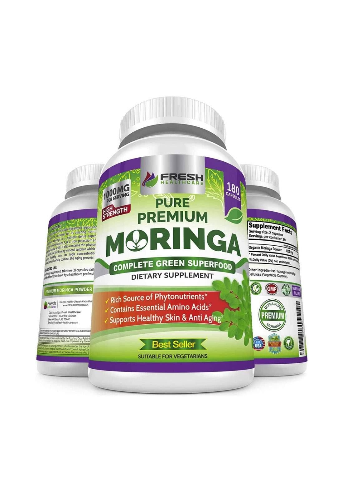 Freash Health Care Purepremium  Moringa (1000MG) 180 Capsules  مكمل غذائي