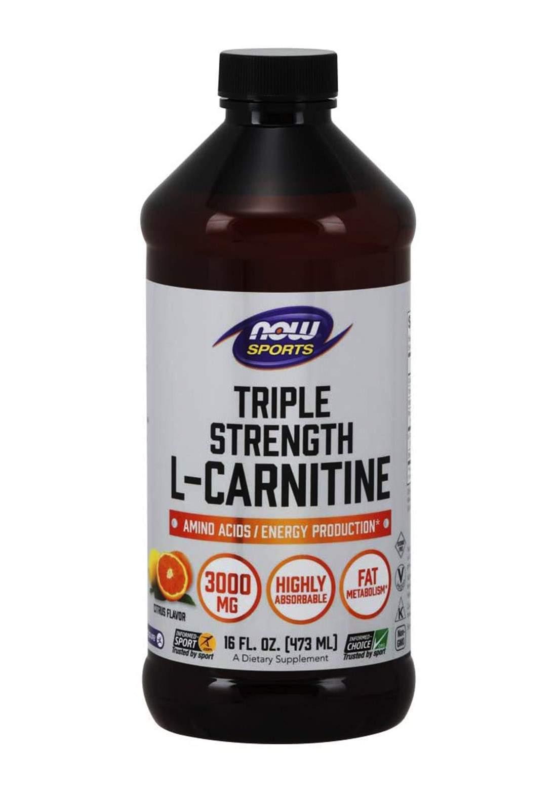 Now Sports Triple Strength L-Carnitine Liquid (3000 mg) 473 ml مكمل غذائي