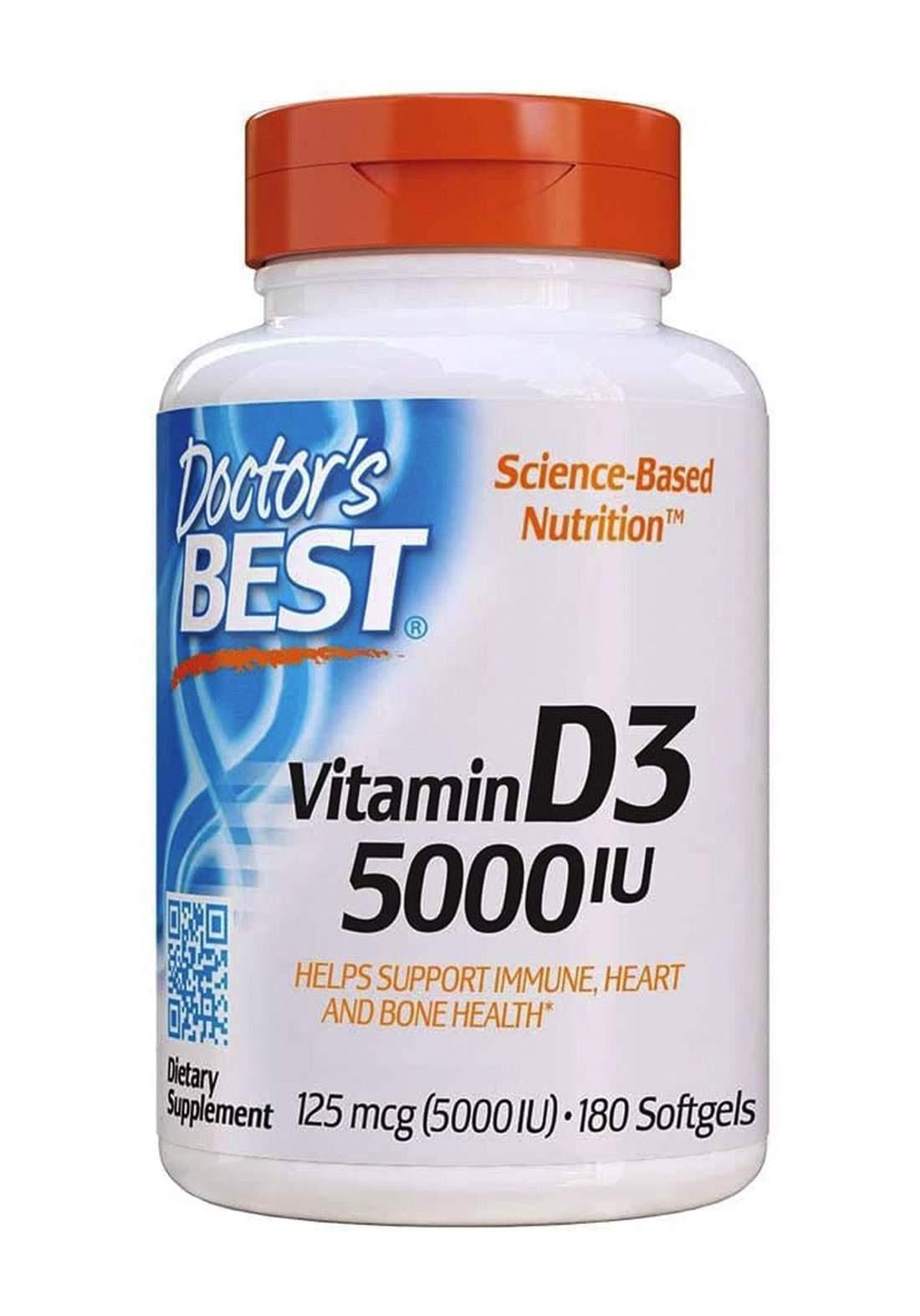 Doctor's Best Vitamin D3 5000IU 180 Capsules فيتامينات