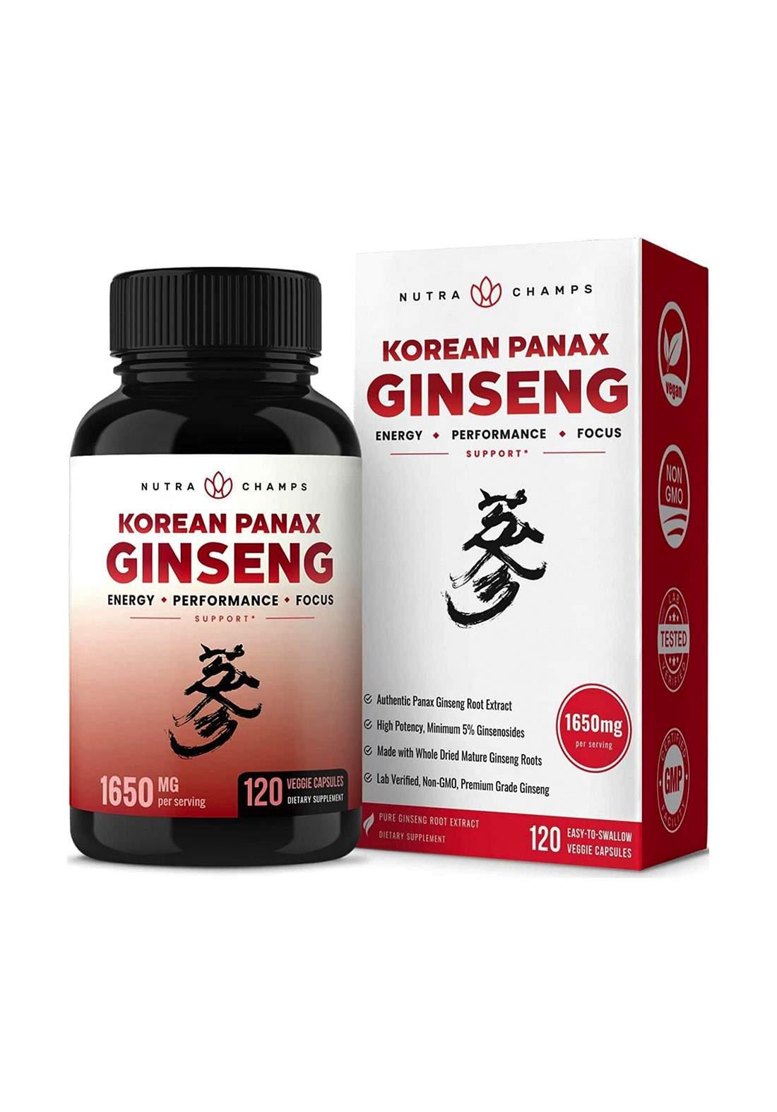 Nutra Champs Korean Panax Ginseng (1650 mg ) 120 Vegan Capsules مكمل غذائي 120 كبسولة