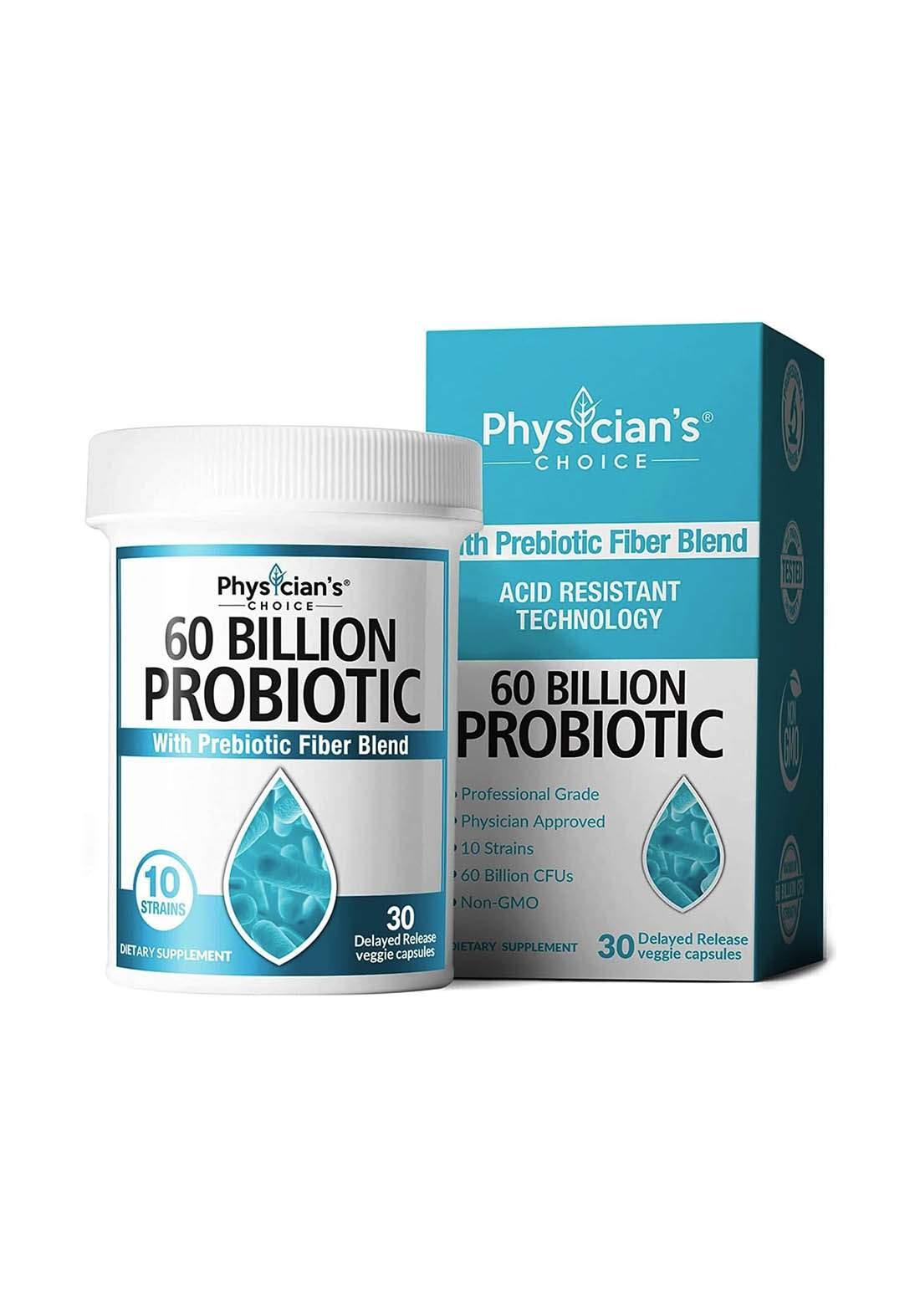 Physician's Choice Probiotic 60 Billion Gfu 30 Capsules مكمل غذائي 30 كبسولة