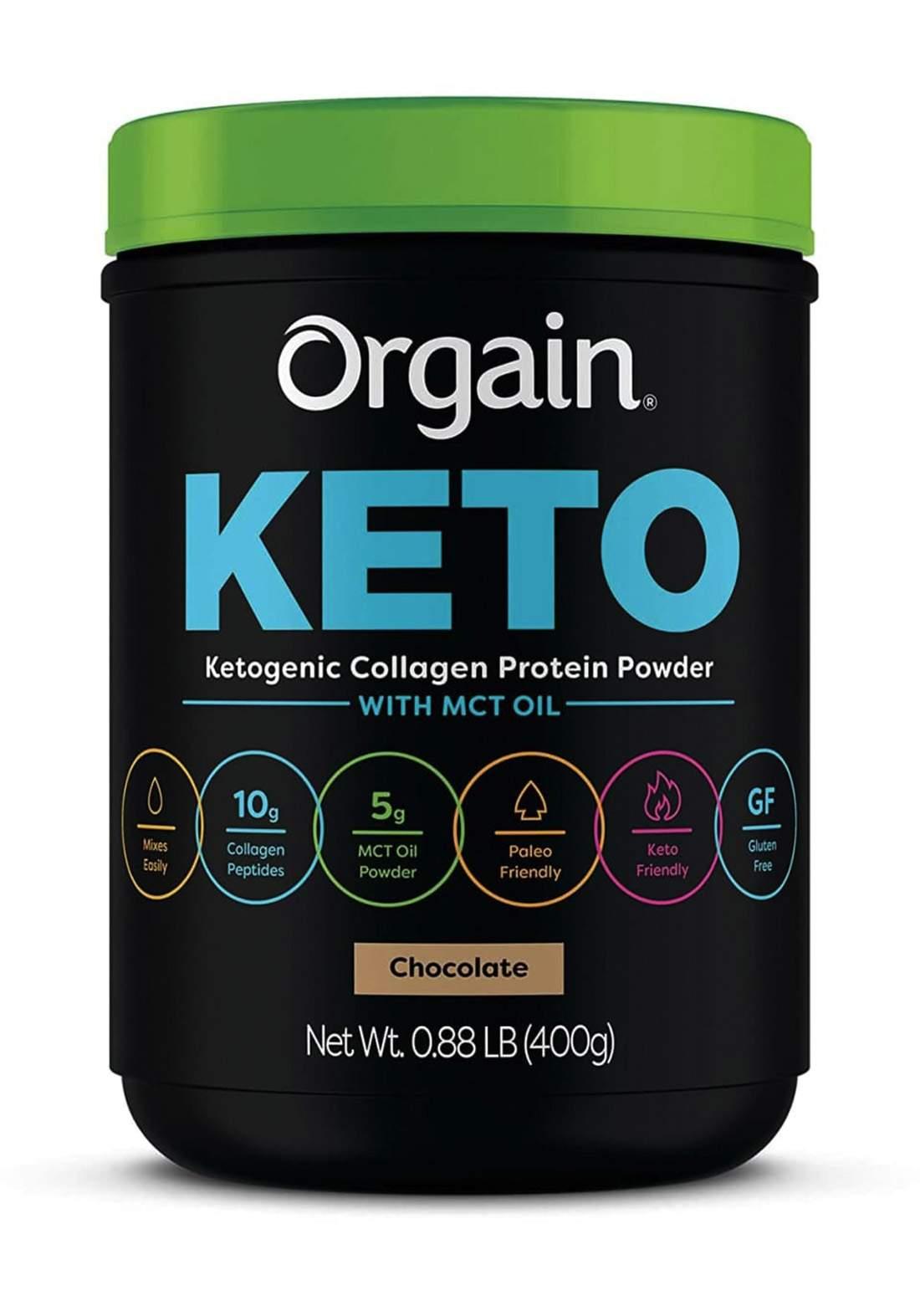 Orgain Keto Ketogenic Collagen Protein Powder Chocolate 400 g  مكمل غذائي