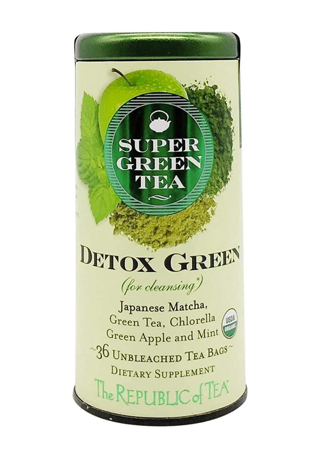 The Republic of Tea Super Green Tea Detox Green 36 TBs شاي الديتوكس 36 ظرف شاي