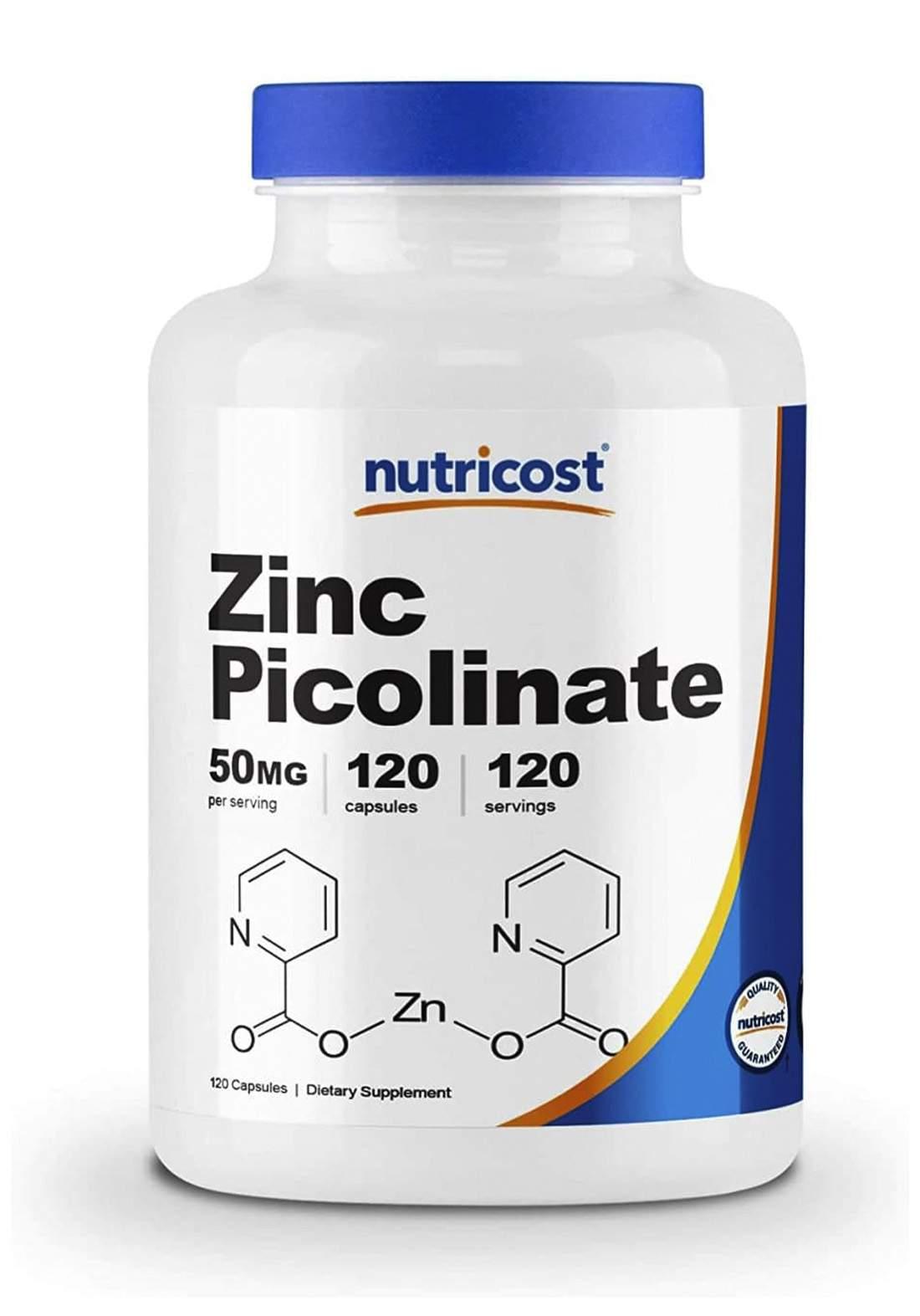 Nutricost Zinc Picolinate Food Supplement 50 mg 240 Capsules - فيتامين زنك240 كبسولة