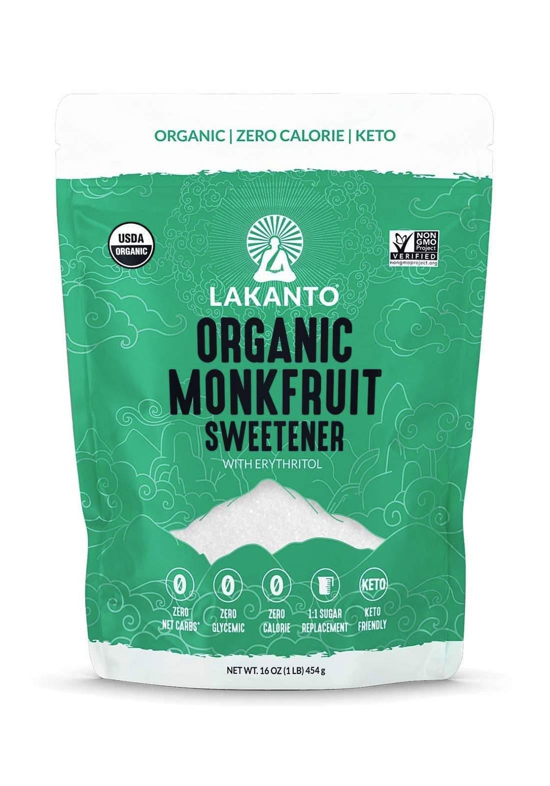 Lakanto Monkfruit Sweetener with Erythritol Golden 454gm  سكر مونك فروت