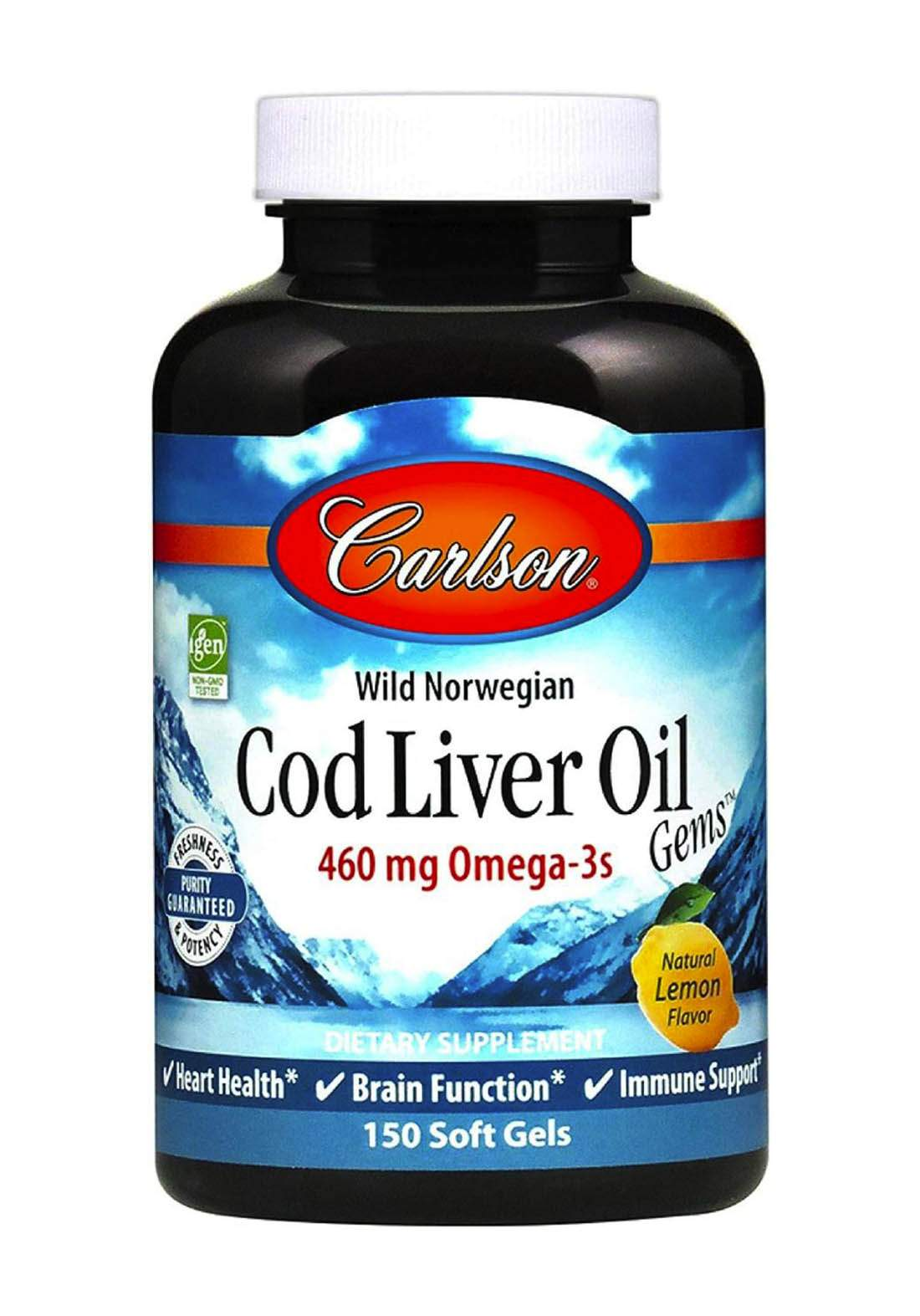 Carlson Wild Norwegian Cod Liver Oil 150 Soft Gels مكمل غذائي