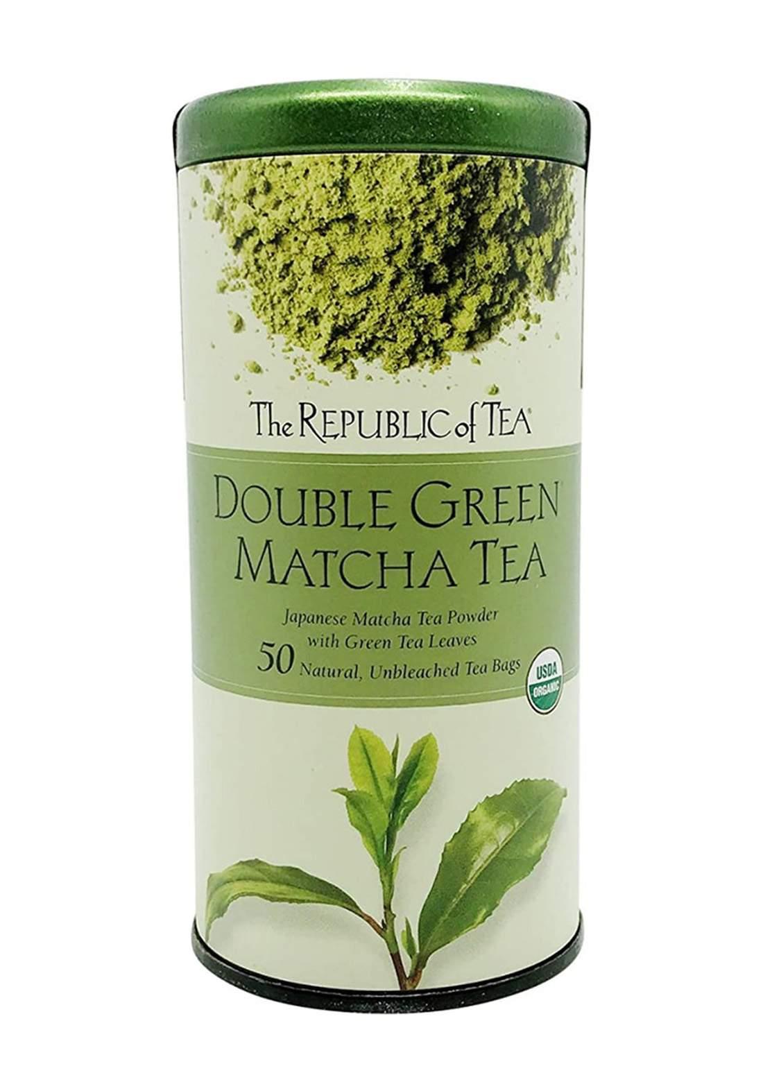The Republic Of Tea Bouble Green Match Tea 50 Tea Bags شاي الماتشا والشاي الأخضر