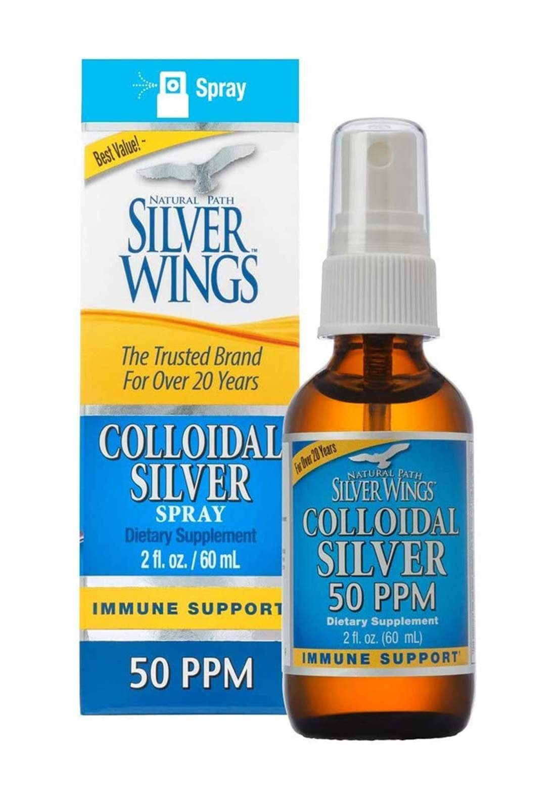 Silver Wings Colloidal Silver 50 Ppm 60ml الفضة الغروية