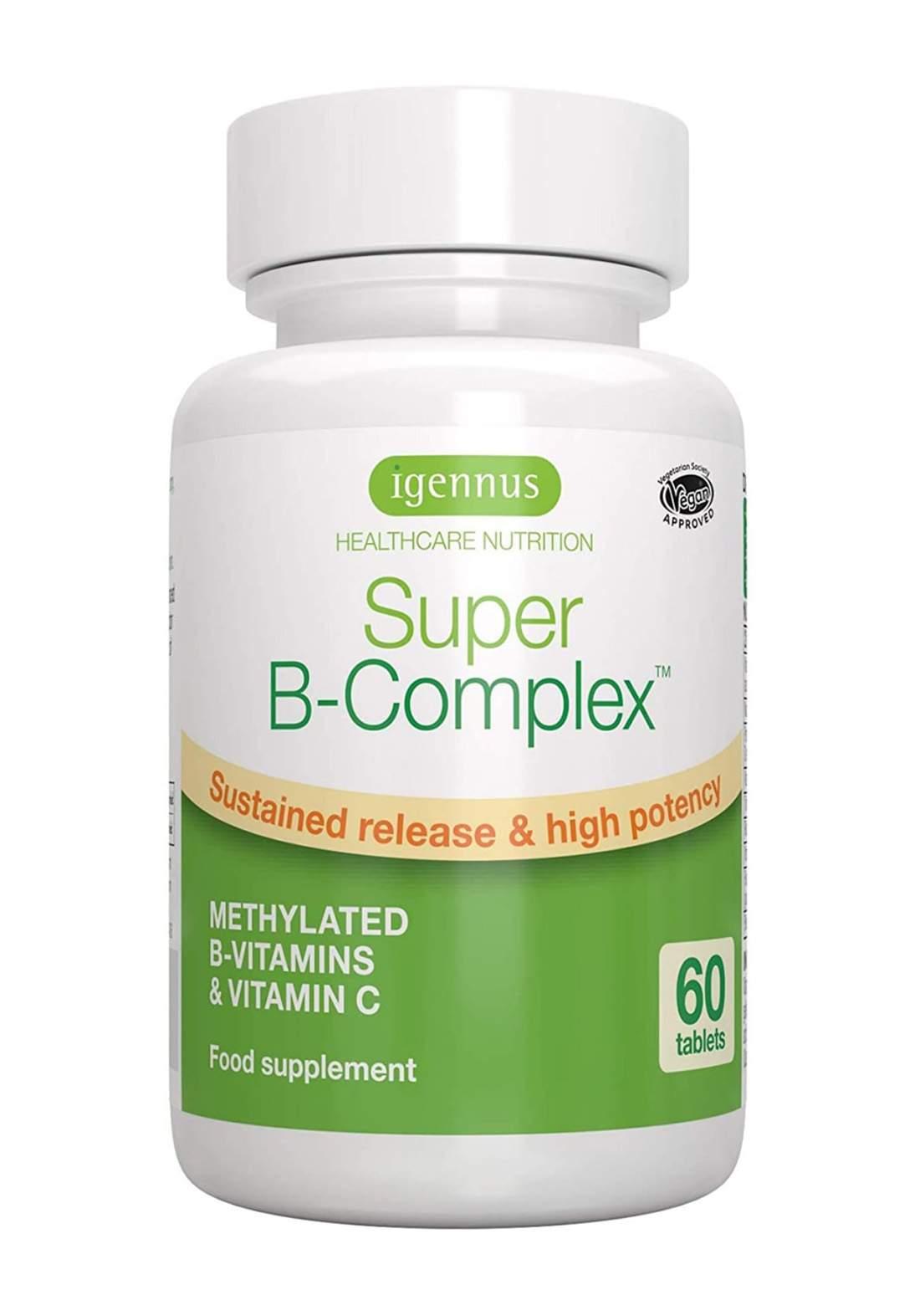 Igennus Health Care Nutrition Super B-Complex 60 Tablets مجموعة فيتامين بي المركب