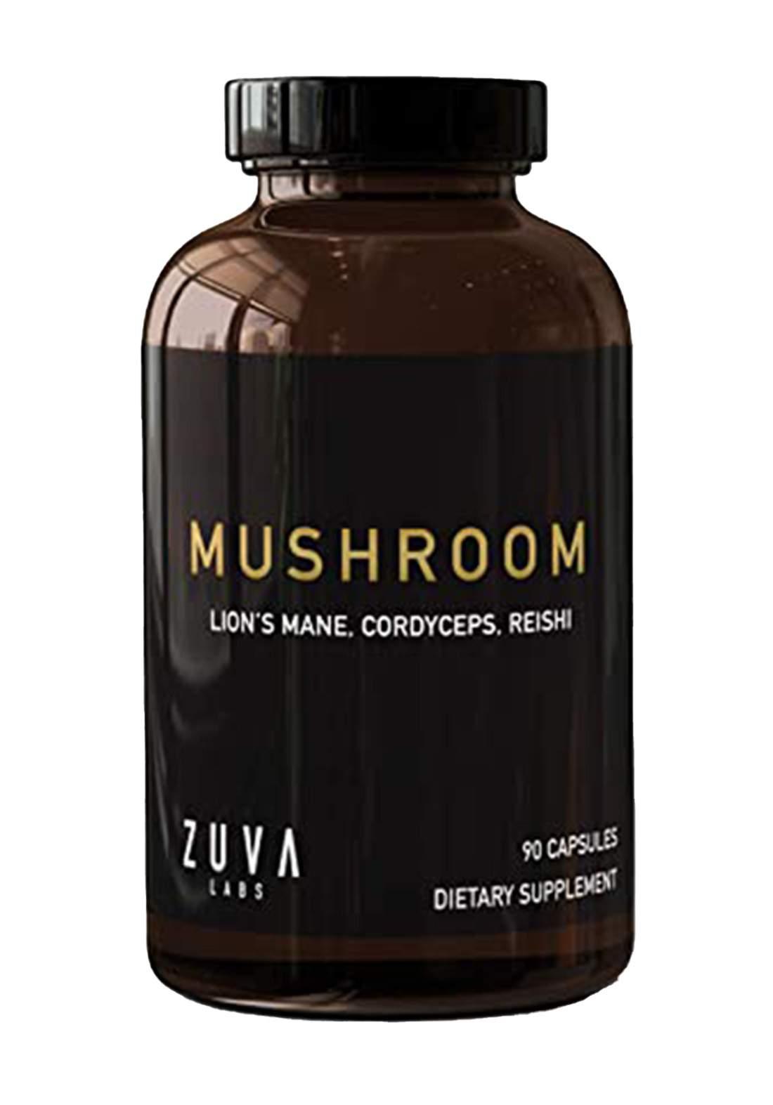 Zuva Labs Mushroom Lion's Mane , Cordyceps  , Reishi 90 Capsules مكمل غذائي
