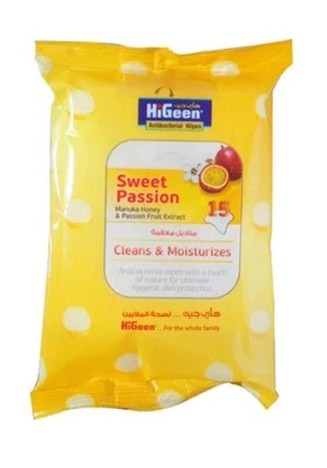 Higeen Wipes Antibacterial Sweet Passion 15 Pce مناديل مبللة