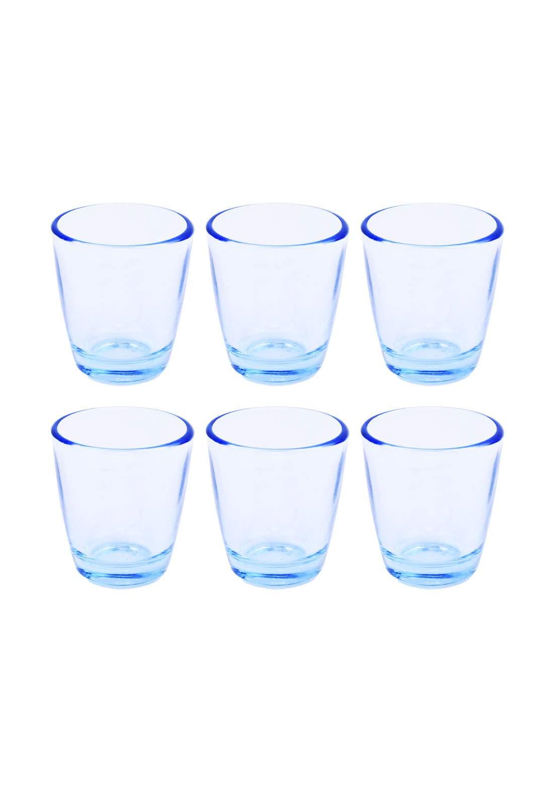 سيت اقداح ماء 6 قطع شفافة ازرق