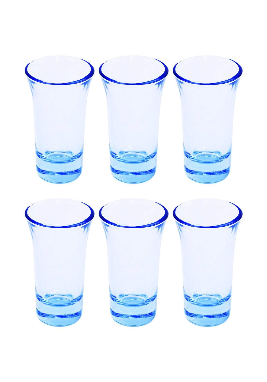 سيت استكانات شاي 6 قطع ازرق شفاف