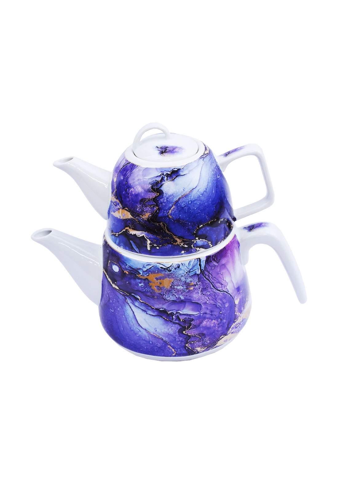 سيت ثنائي ابريق شاي ازرق
