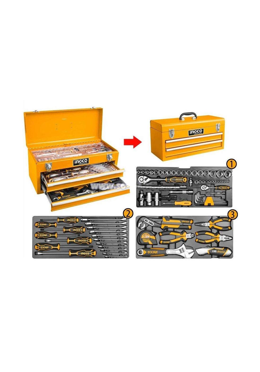 Ingco HTCS220971  Industrial Hand Tool Chest Set IHT 97 Pcs صندوق عدد يدوية