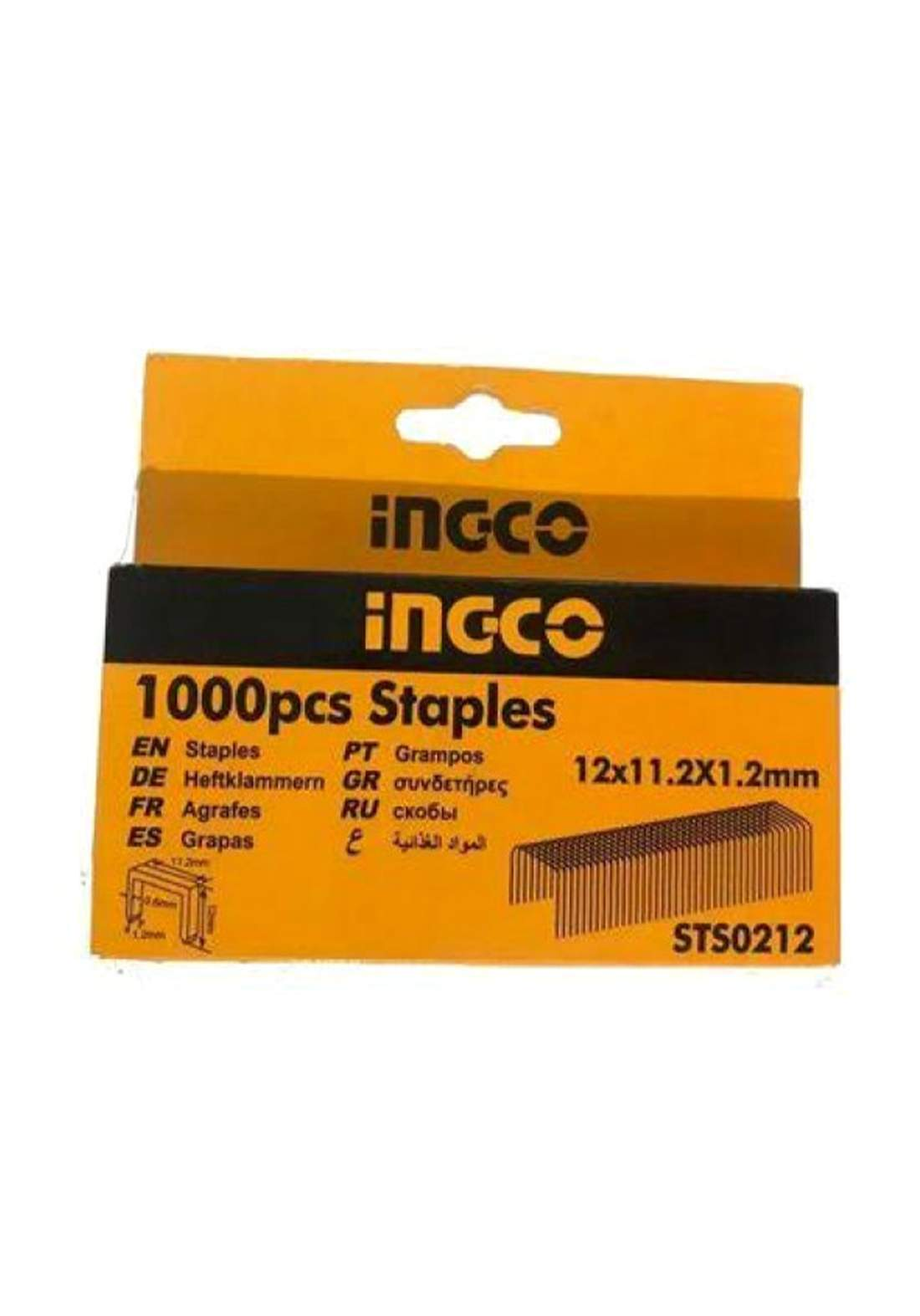 Ingco STS0212 Staples - 12mm (width: 0.7mm) -1000 Pieces