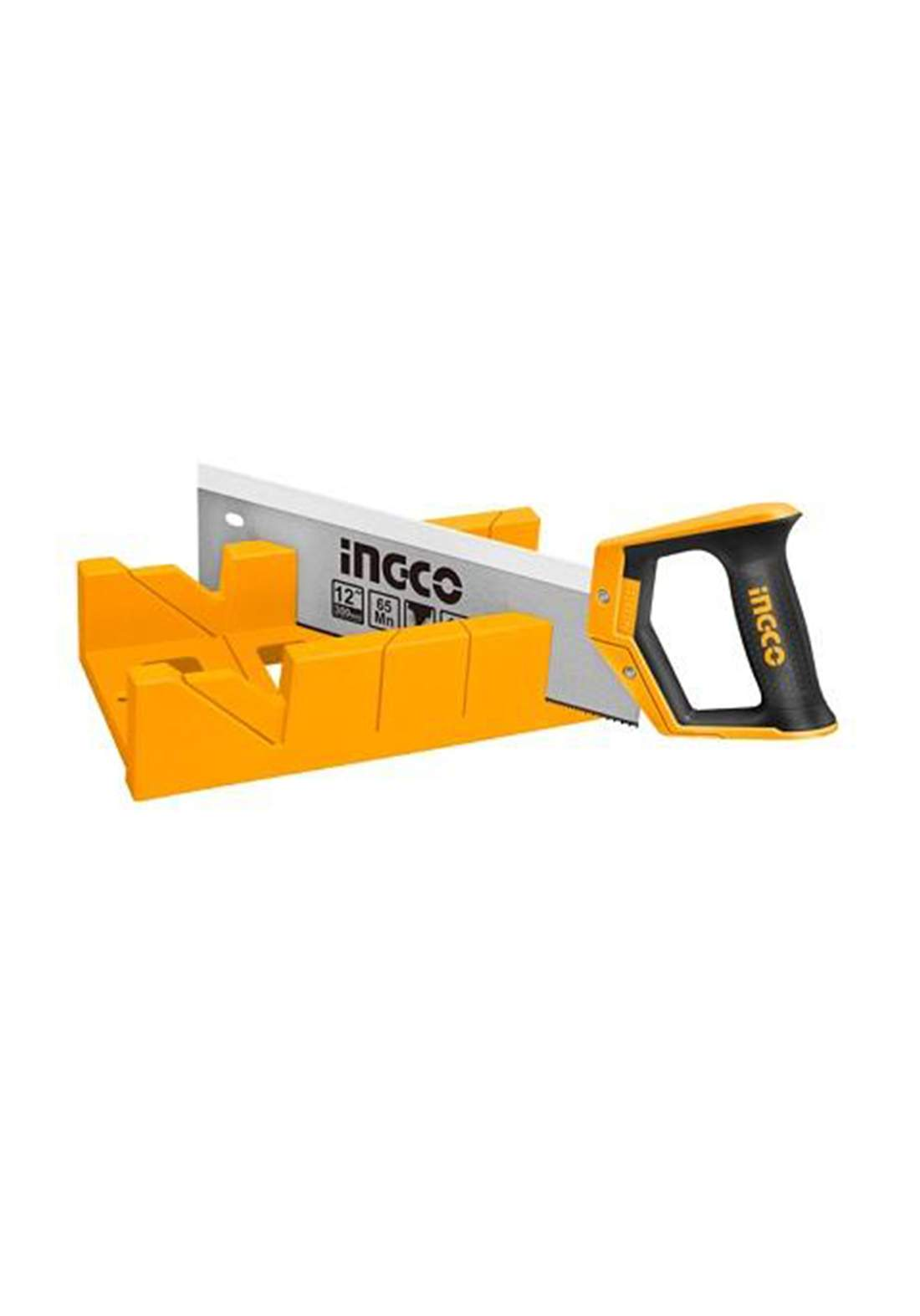 Ingco HMBS3008  Mitre Box and Back Saw Set منشار خشب قاعدة