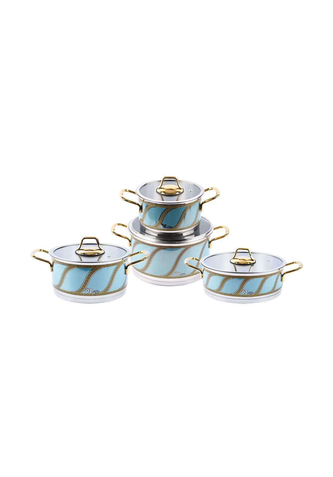 Ozlife Cookware Set Decorated Turquoise  8 Piece سيت  قدور ستيل ملون