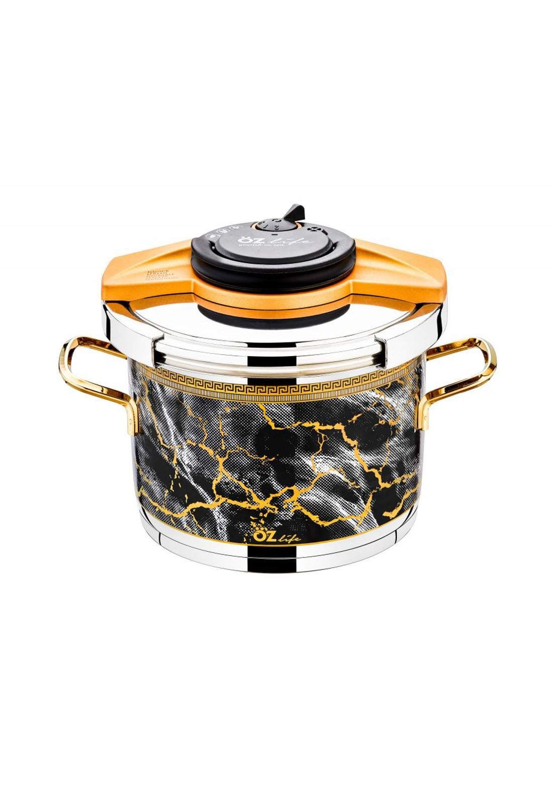 Ozlife Pressure Cooker Decorated Yellow 2 Piece  قدر ضغط