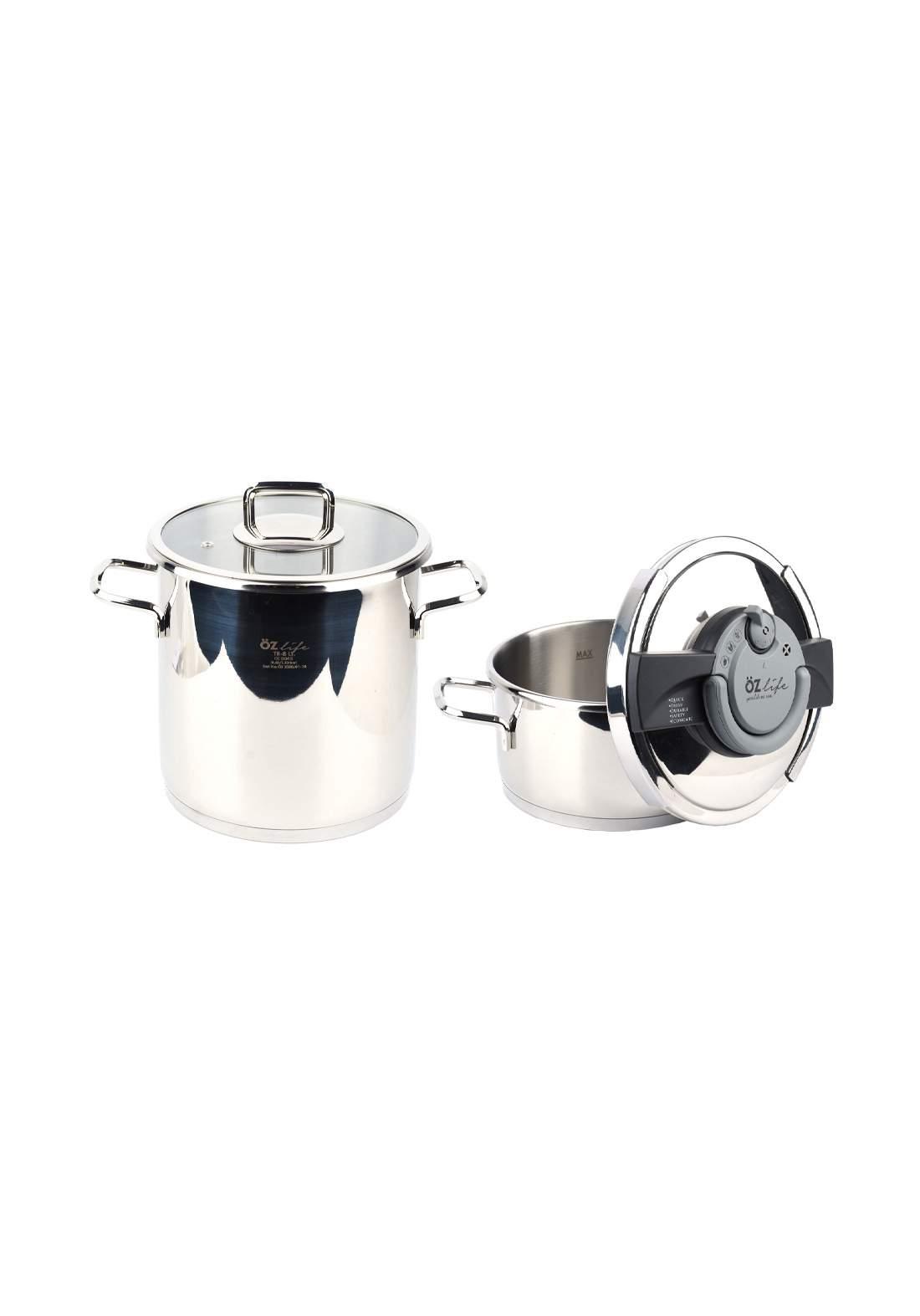 Ozlife Pressure Cooker Set Plain 4 Piece  قدور ضغط + قدور