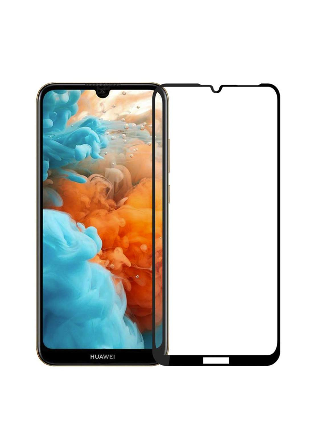 Huawei Y6S Tempered Glass Screen Protector - Black واقي شاشة