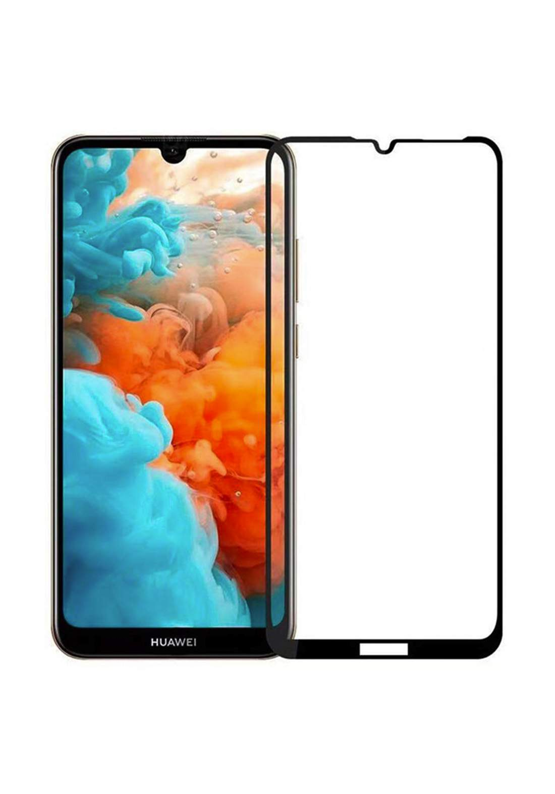 Huawei Y7 2019 3D Tempered Glass Screen Protector - Black واقي شاشة