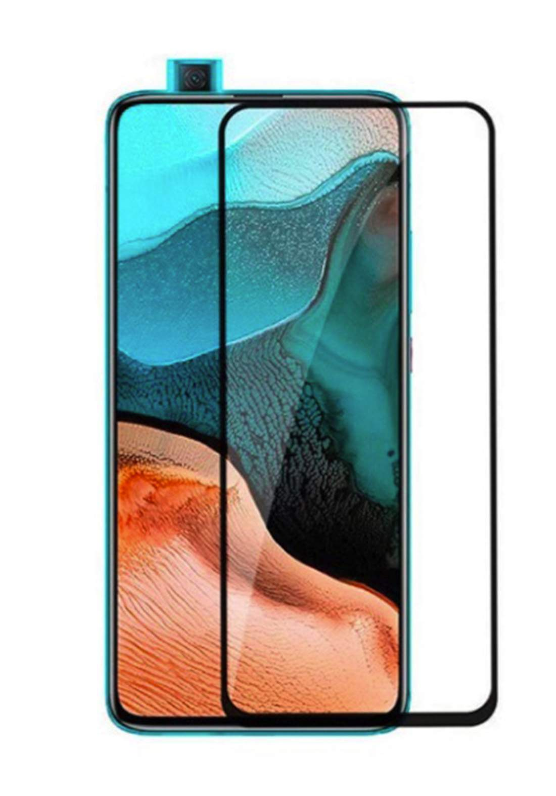 Huawei Y7A Tempered Glass Screen Protector - Black واقي شاشة