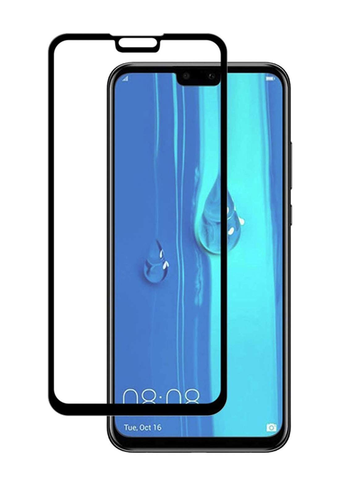 Huawei Y9 2019 Tempered Glass Screen Protector - Black واقي شاشة