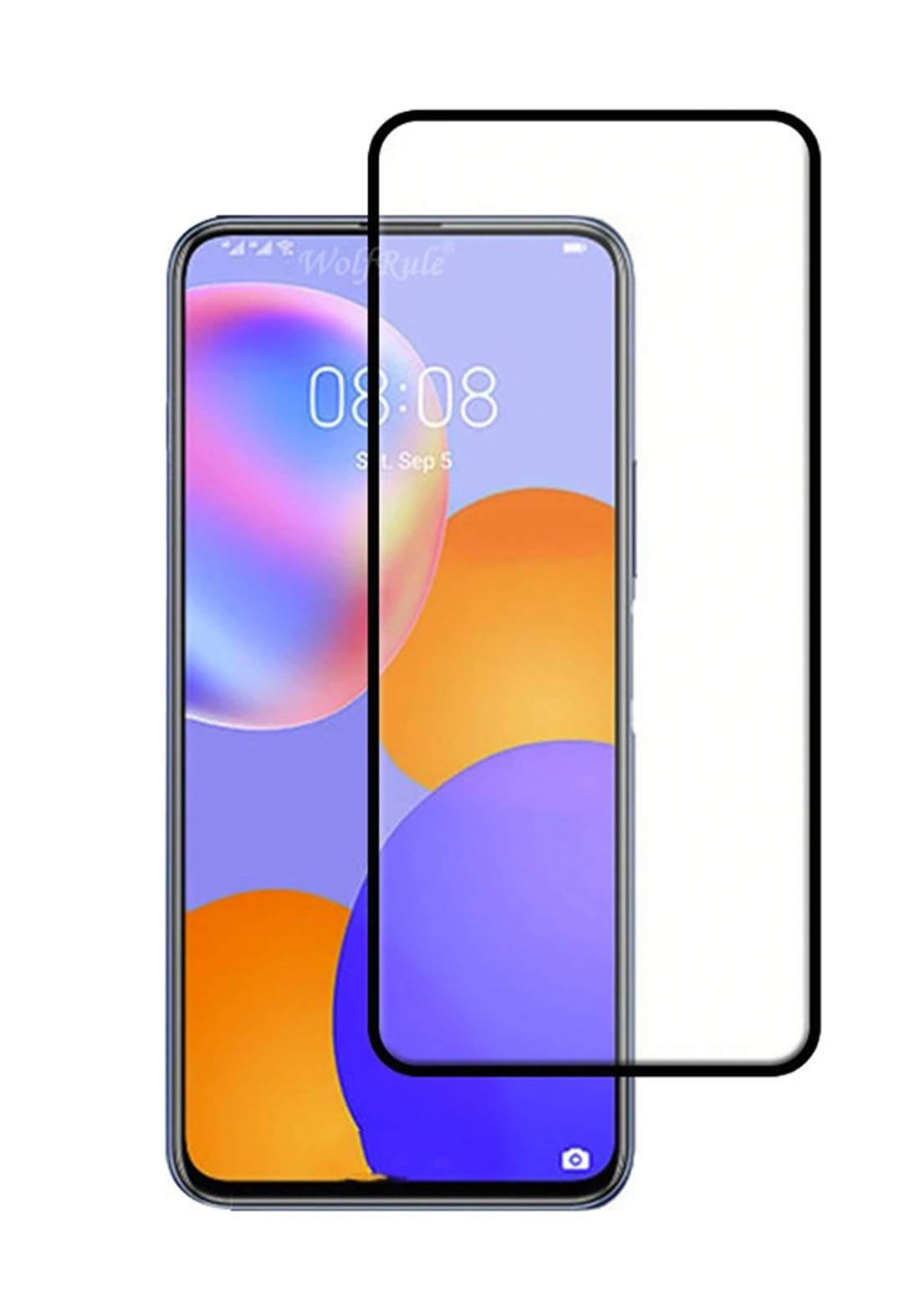 Huawei Y9A Tempered Glass Screen Protector - Black واقي شاشة