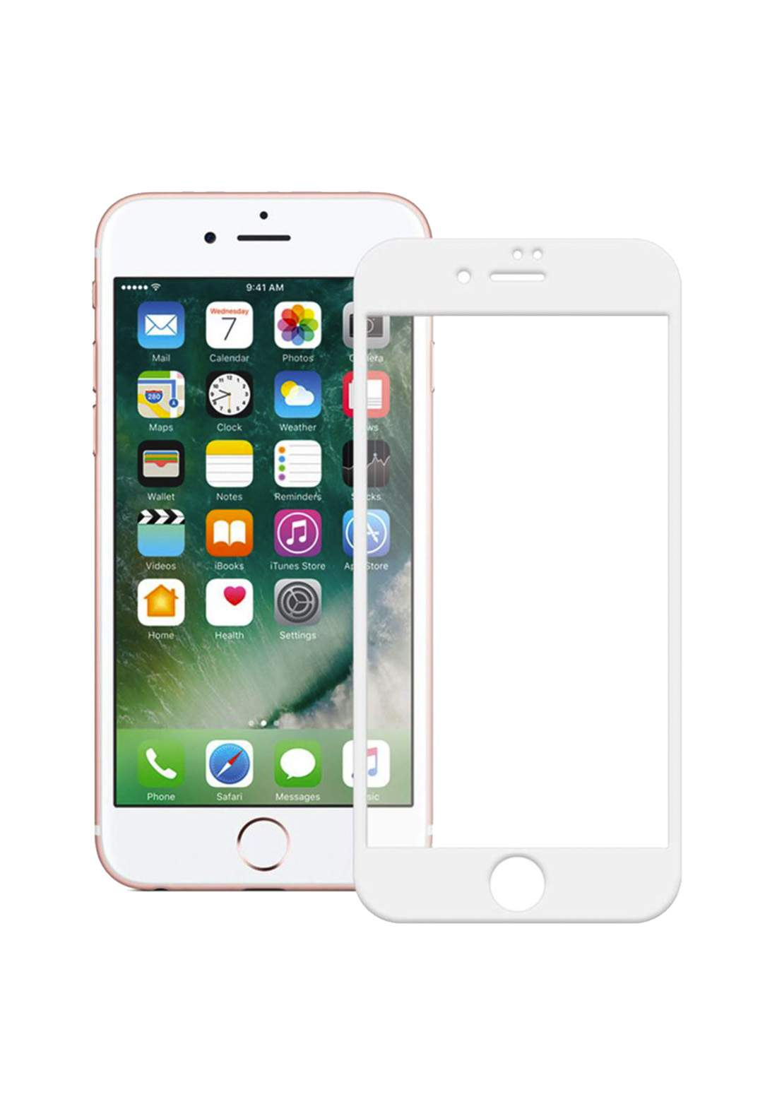 Tempered Glass Screen Protector for iPhone 7 Plus - White واقي شاشة