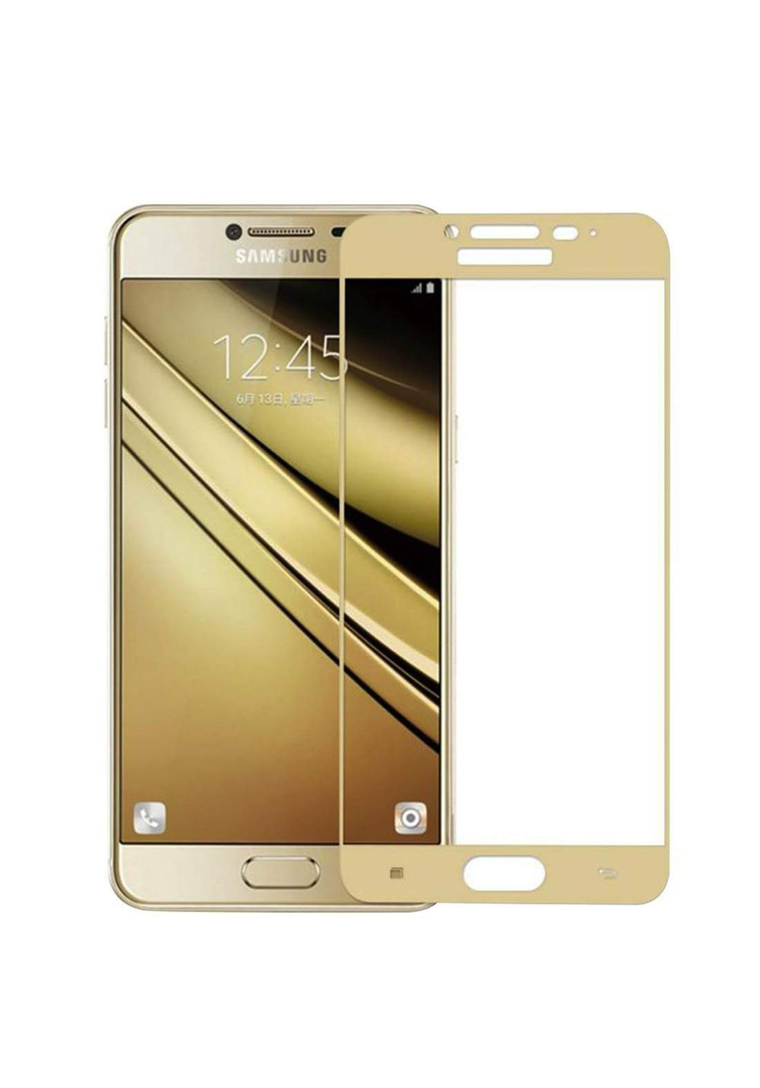 Samsung Galaxy J7 Prime 5D Tempered Glass Screen Protector - Gold واقي شاشة