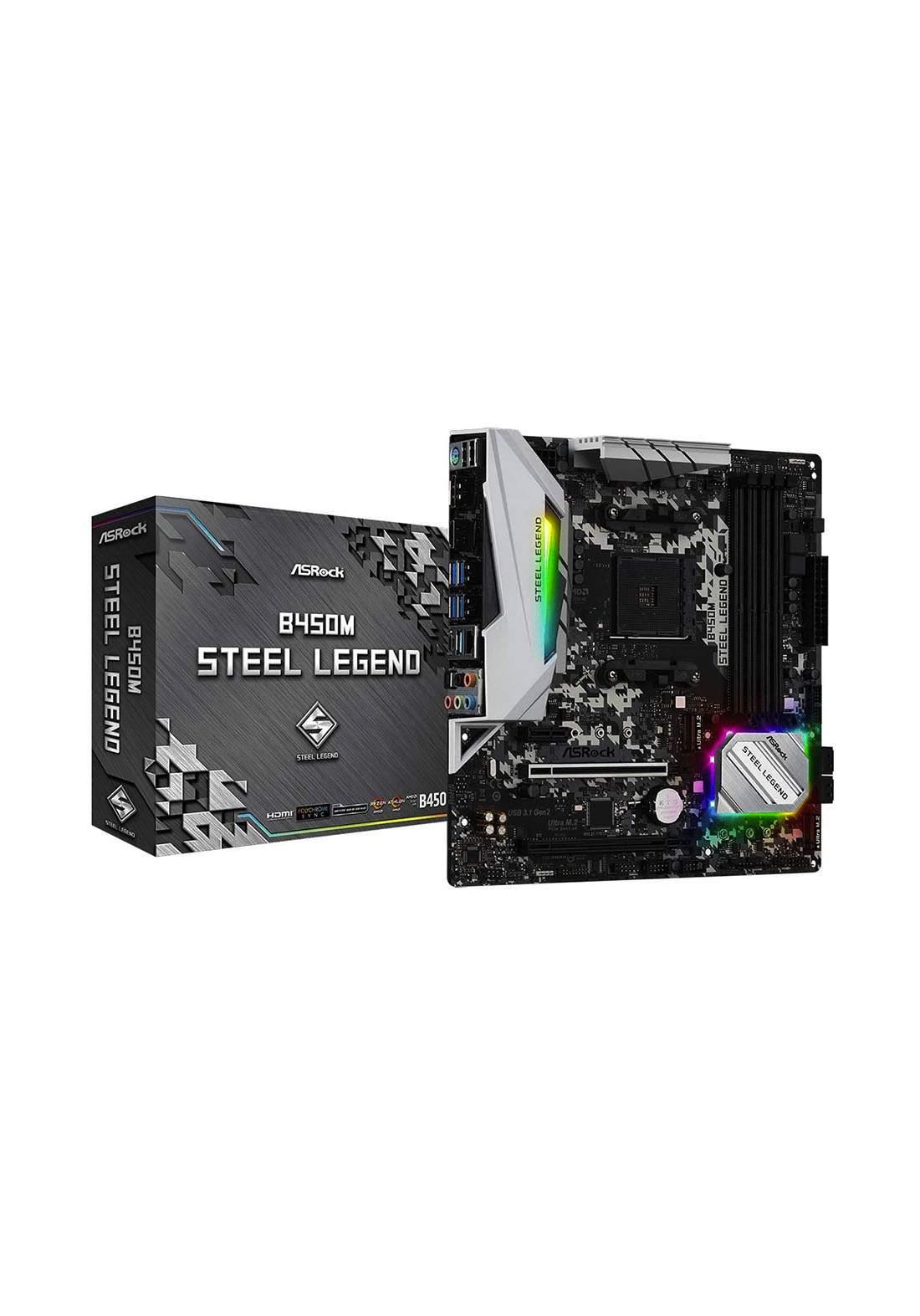 AsrocK B450M Steel Legend Motherboard -Black  لوحة الام