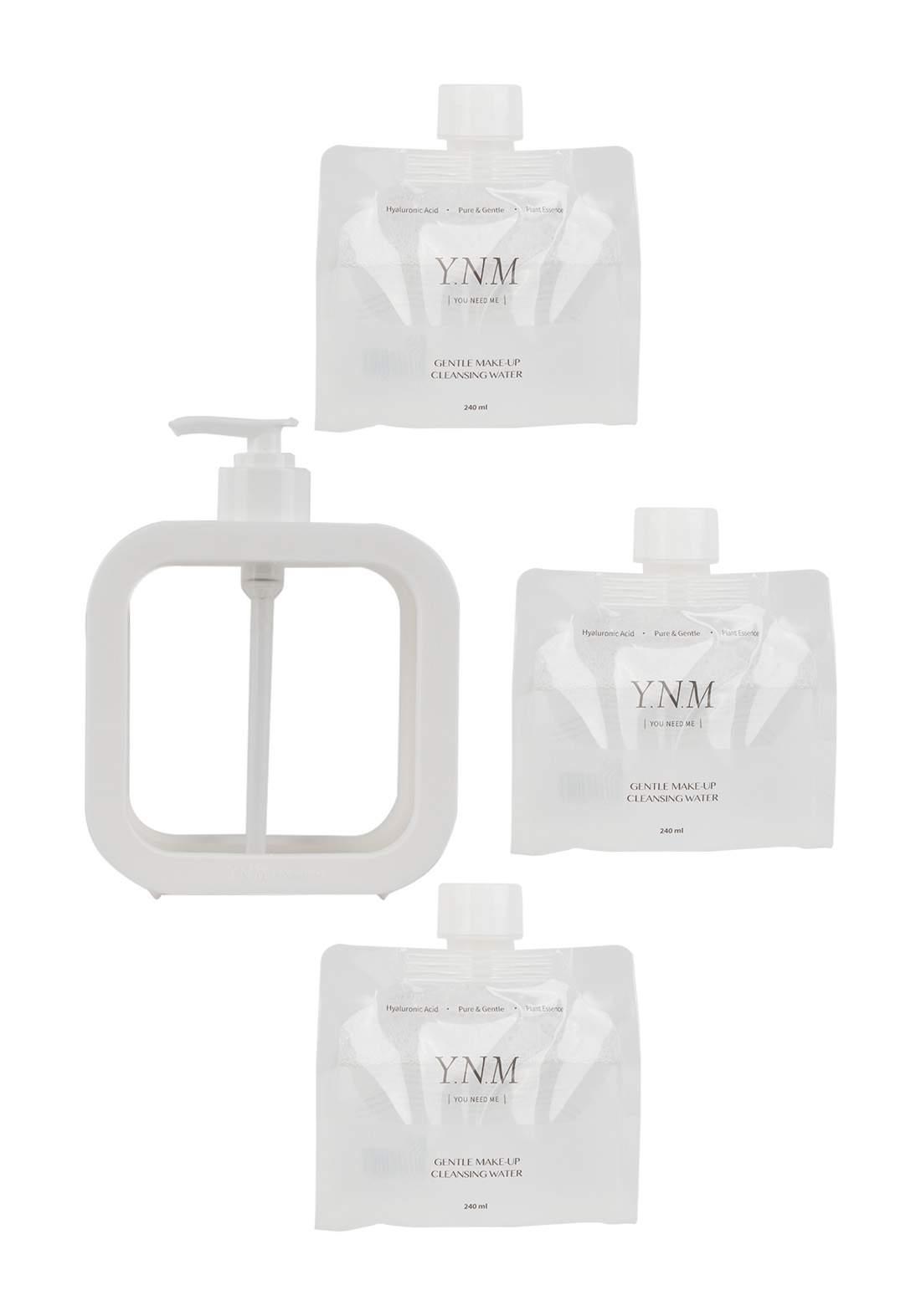 YNM Gentle Make-Up Cleansing Water Set (3 Refills 240ml + 1 Dispenser)  مزيل المكياج