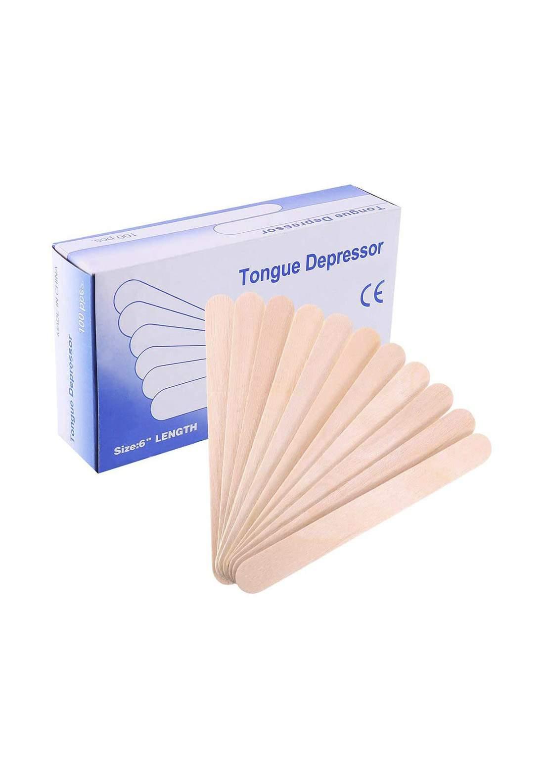 Wooden Tongue Depressor Size 6 100pcs عيدان خشبية