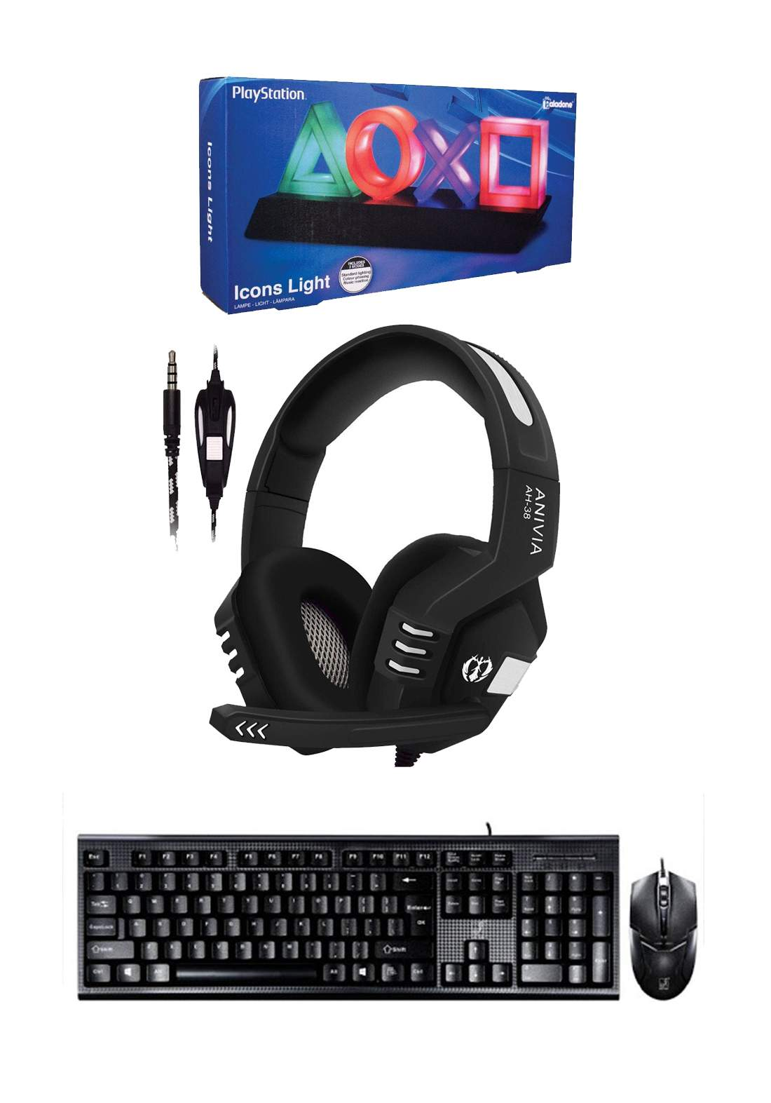 Set of Anivia AH38 Gaming Headset  & Keyboard And Mouse Q9 Set Wired & Playstation Icons Light    بكج من سماعة وكيبورد وماوس وايقونات بلاستيشن