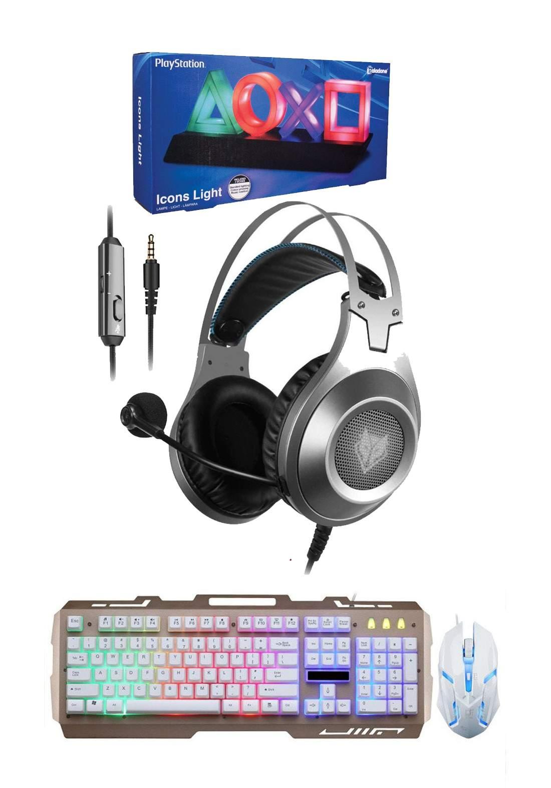 Set of  NUBWO  N2 Gaming Headphones &  Playstation Icons Light & G700 Gaming Keyboard and Mouse  بكج من سماعة وكيبورد وماوس وايقونات بلاستيشن