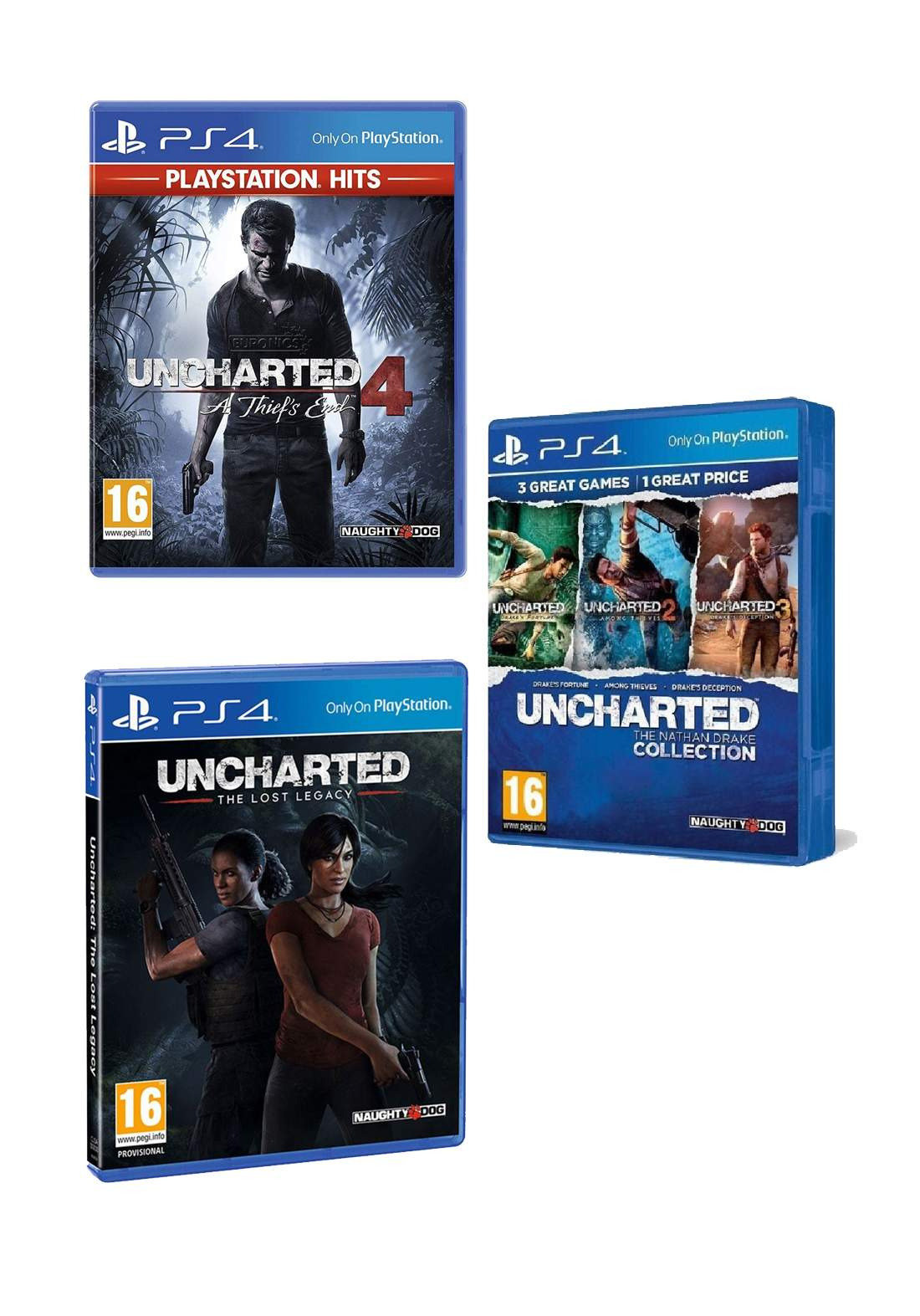 Set of UnchartedThe Lost Legacy Arabic Edition PS4 Game & Uncharted 4 PS4 Game Arabic & Uncharted The Nathan Drake Collection For SP4    بكج العاب بلاستيشن فور