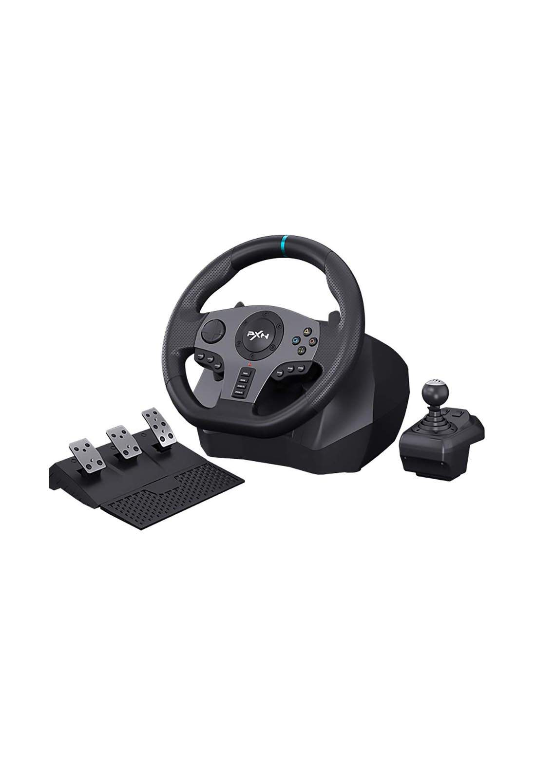PXN V9   Racing Steering Wheel Set with Clutch and Shifter - Black عجلة قيادة ودواسة وناقل حركة للالعاب