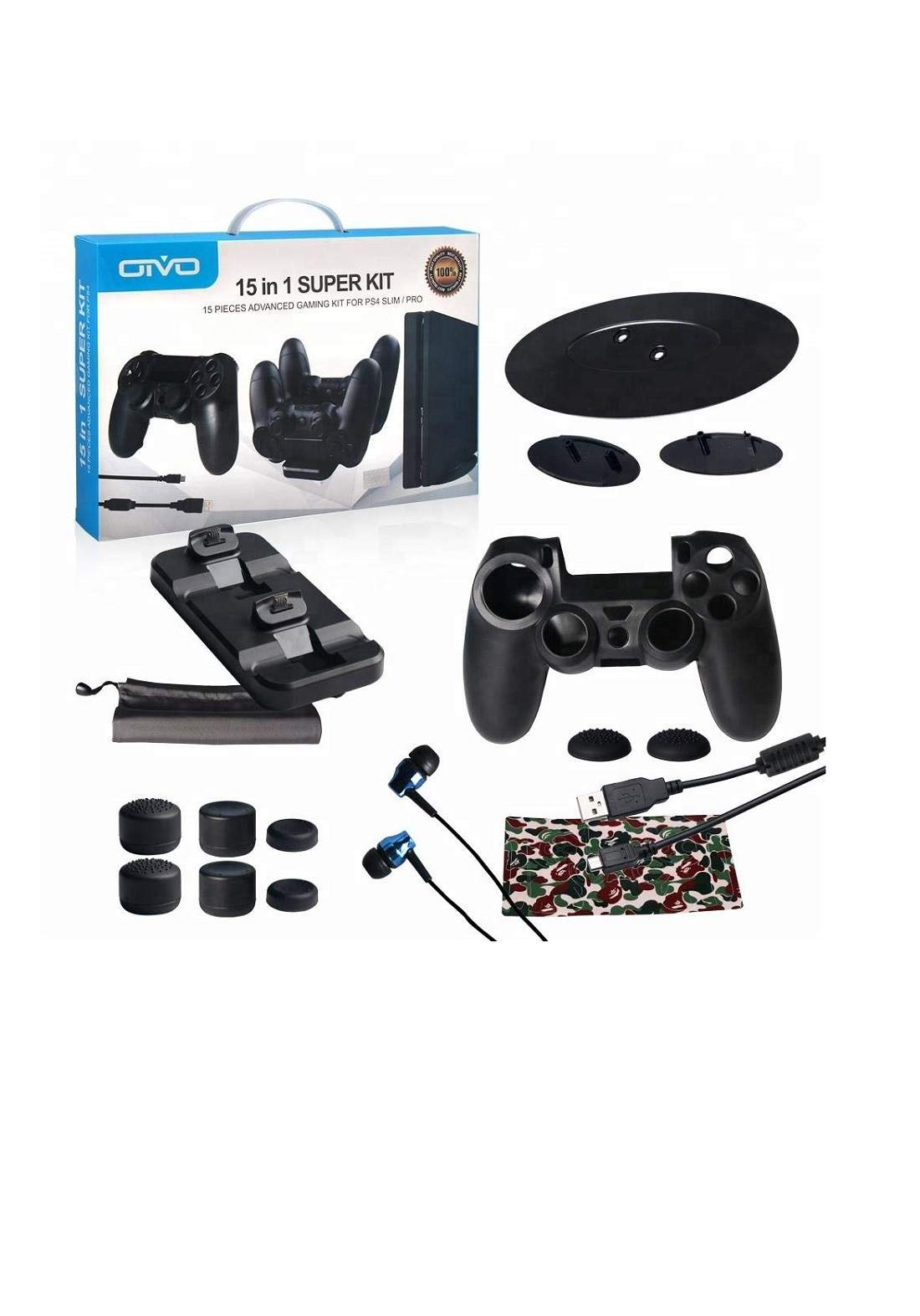Oivo 15-in-1 Game Accessories Super Kit for PlayStation PS4  - Black