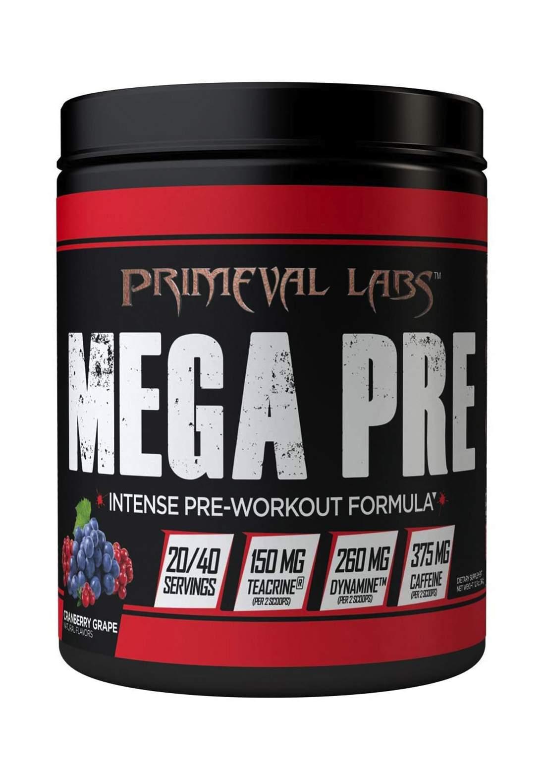 Primeval Labs Mega Pre Black - New Formula (Cranberry Grape) 20\40 Servings مكمل غذائي