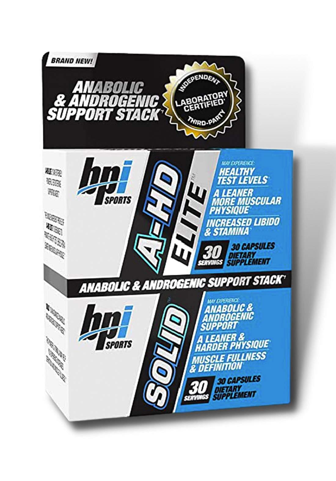 Bpi Sports A-Hd Elite/Solid Combo (30 Capsules) مكمل الأداء الرياضي