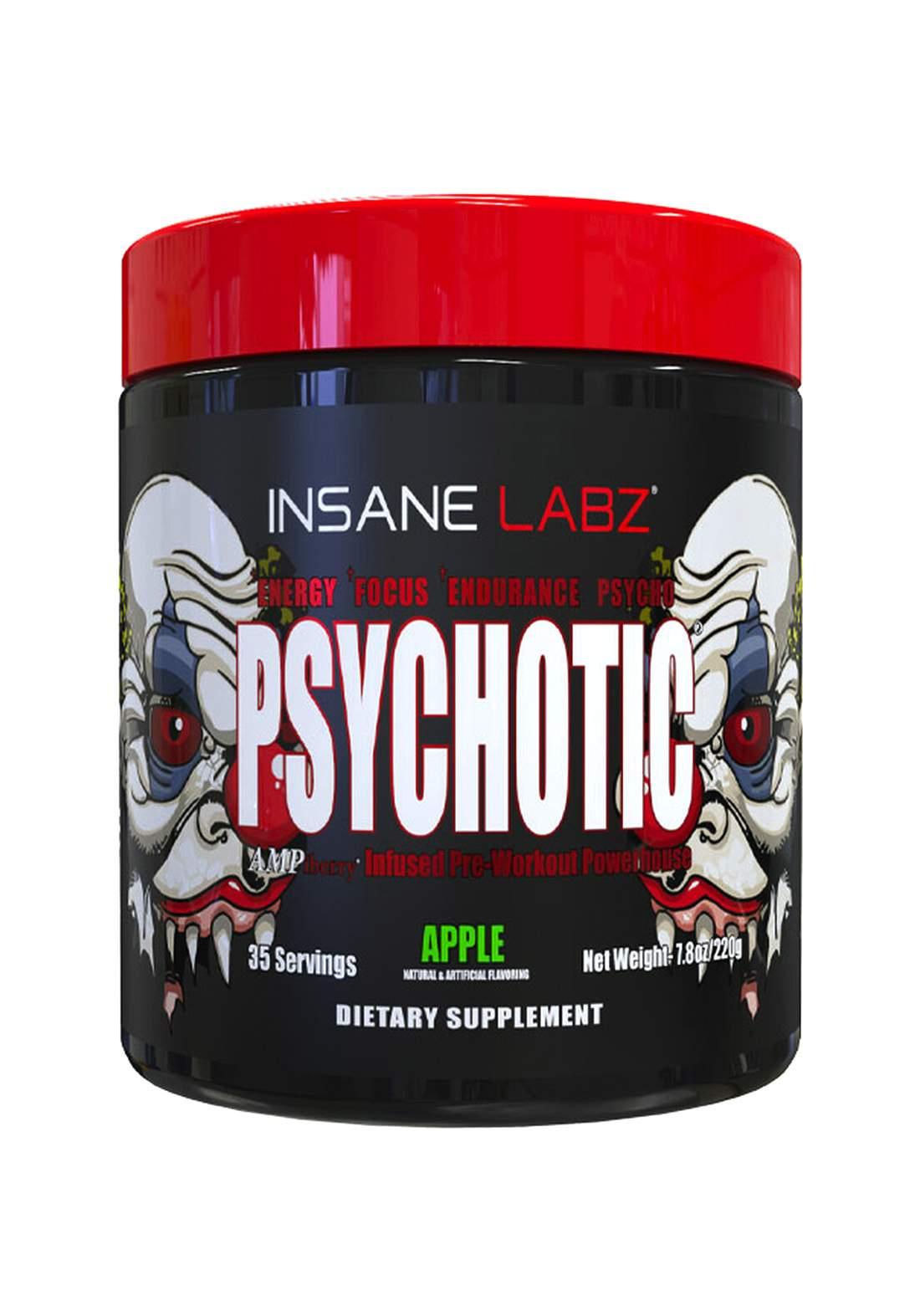Insane Labz Psychotic Apple 35 Servings 220 Gm  منشط أداء رياضي