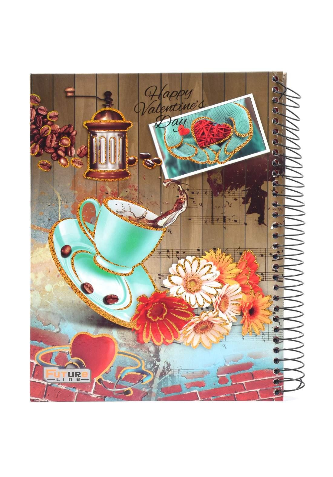 دفتر 200 ورقة سيم برسمة كوب قهوة و ورد KHB-800