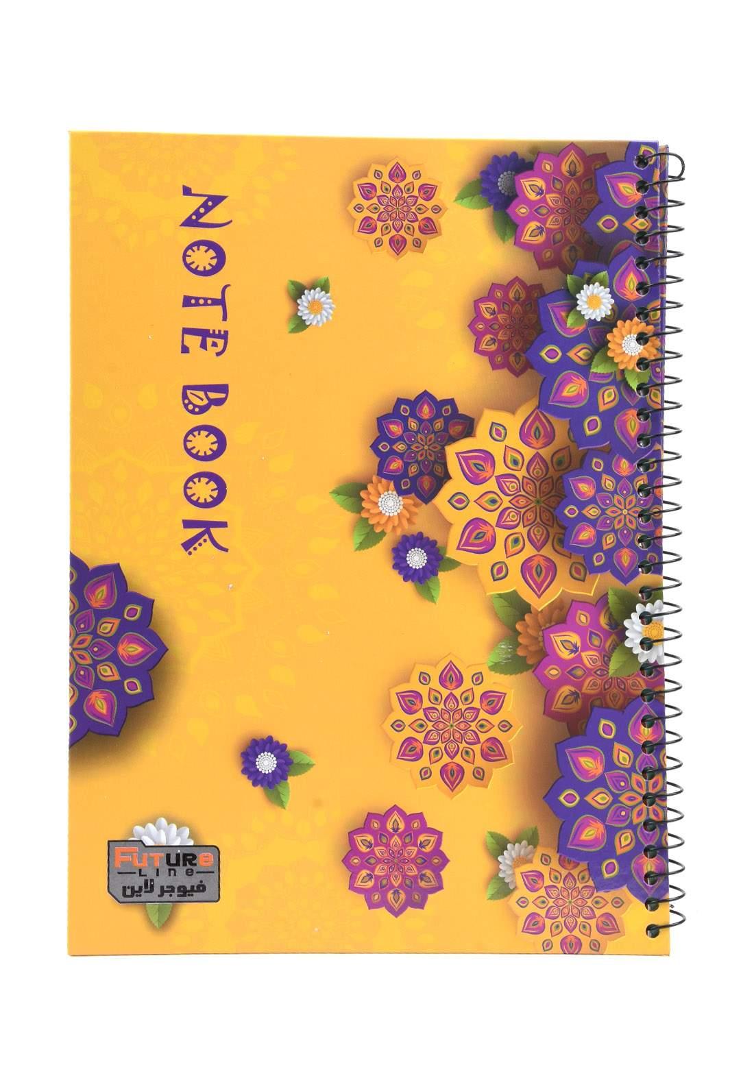 دفتر 100 ورقة سيم برسمة زخرفة صفراء KH-3000