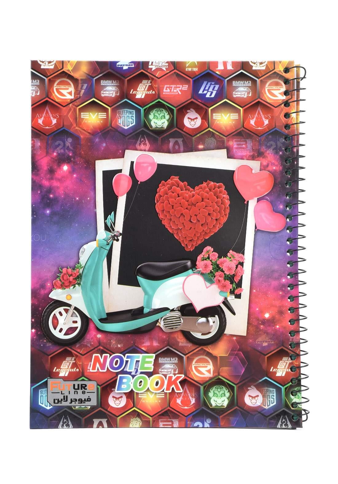 دفتر 100 ورقة سيم برسمة دراجة وبالونات KH-3000