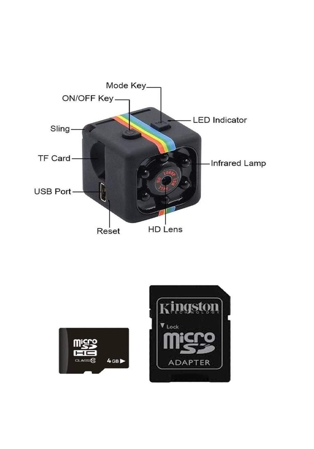 Ocamo SQ11 Mini Camera 1080P HD and  Flash Memory Card SDC4/4GB - Black كاميرا صغيرة الحجم و فلاش