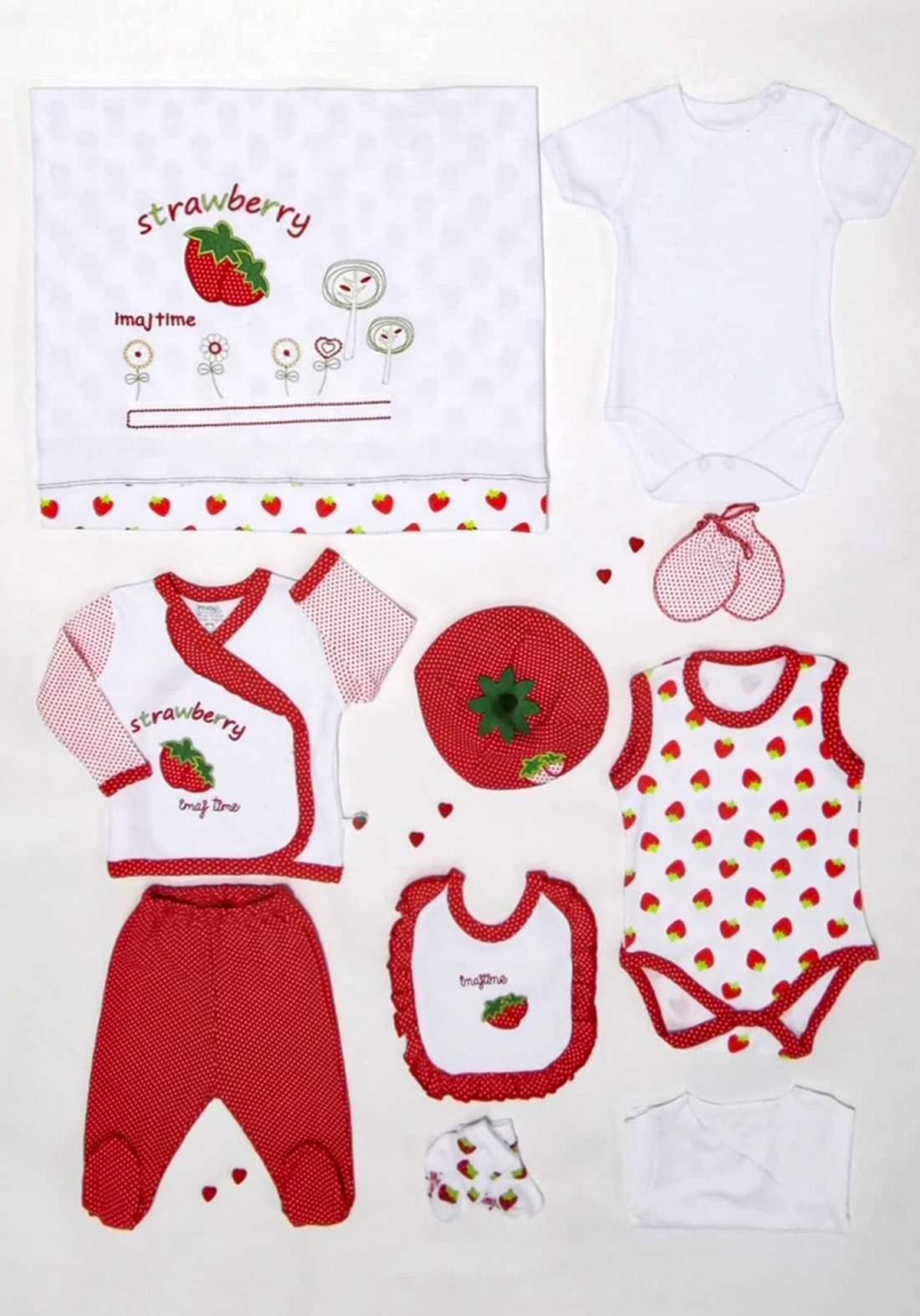 سيت  اطفال حديثي الولادة احمر وابيض اللون 10 قطع