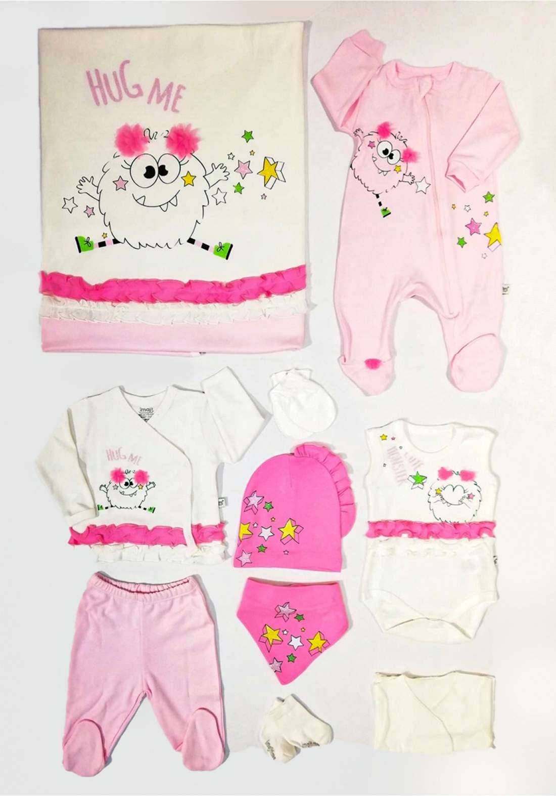 سيت اطفال حديثي الولادة وردي اللون