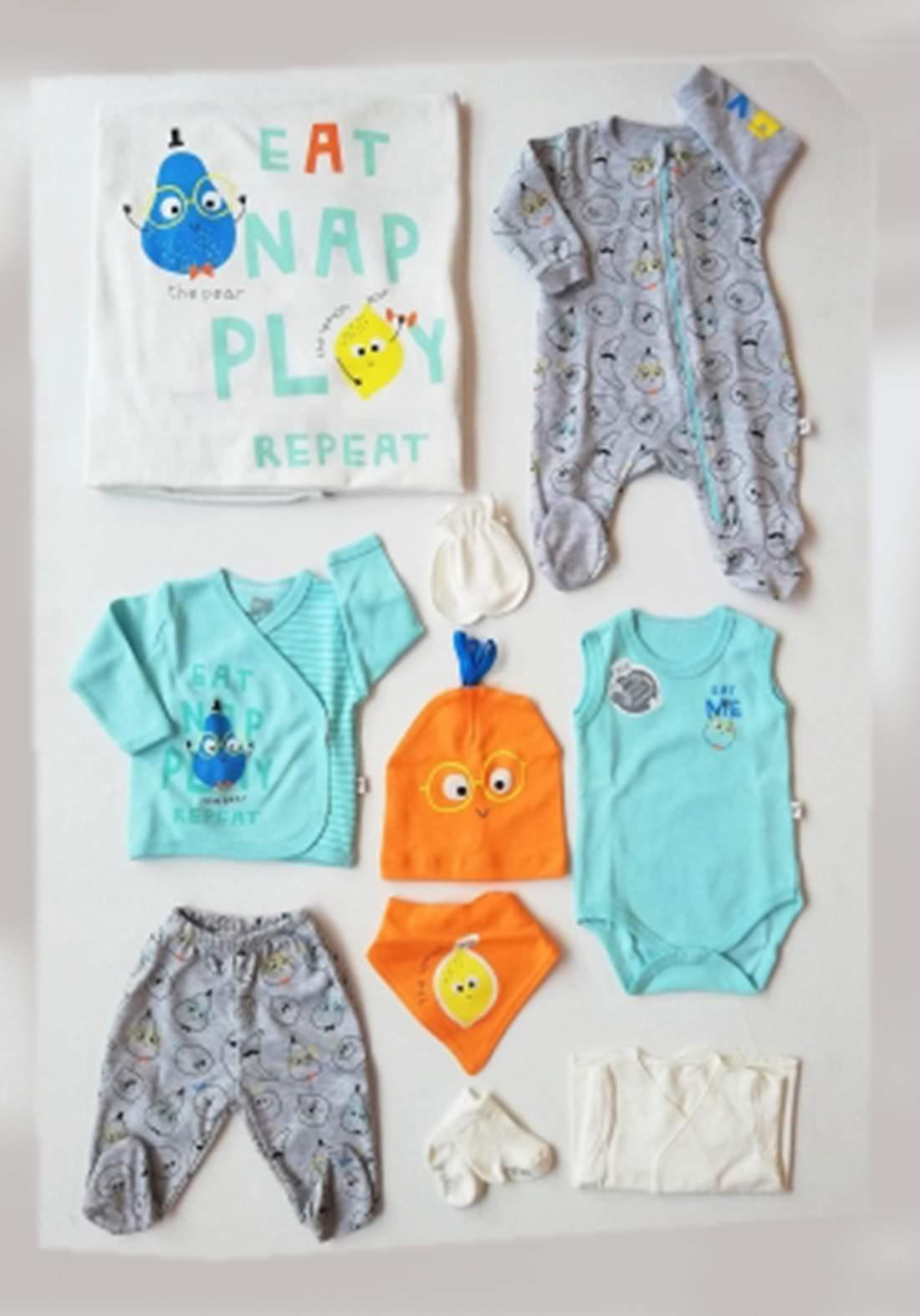 سيت اطفال حديثي الولادة  10 قطع سمائي فاتح اللون